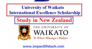 International Excellence Scholarship at University of Waikato New Zealand