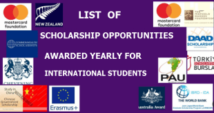 Best known Scholarship Opportunities Awarded Yearly for International Students