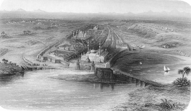 Shahjhanabad, the old city, in 1858 [image from: The Yamuna River Project]