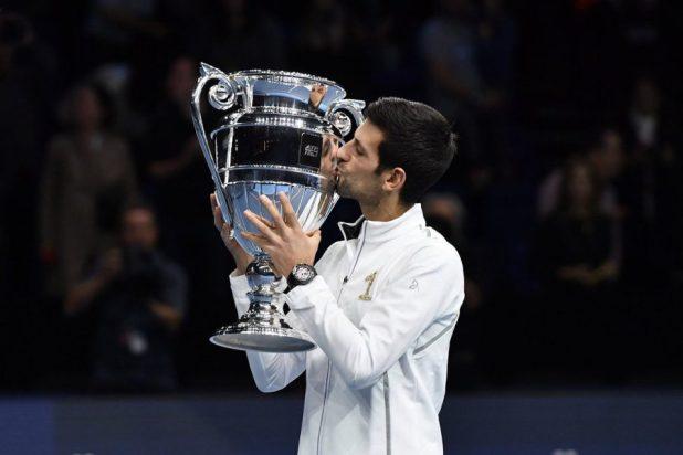 bd456e0923eb Novak Djokovic Presented Year End Number 1 Trophy At 2018 Nitto ATP ...