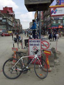 A roundabout in Kathmandu, Nepal.