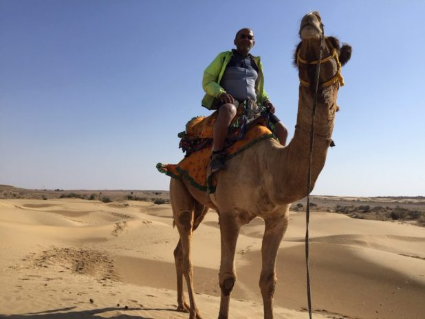 A camel ride just outside Jaisalmer