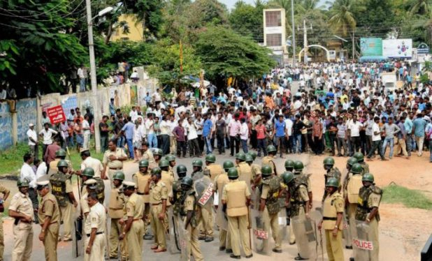 Protests in Bangalore over Cauvery water, one of the key interstate water disputes in India [image by: Press Trust of India]