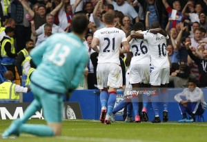 Courtois looks on as Palace celebrate their winner at Stamford Bridge