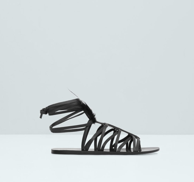 Mango - feather leather sandals 59.99