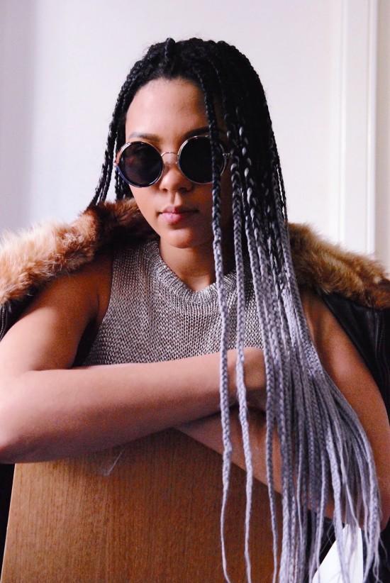 Chanel wears Sunglasses: Zara; Jacket: Kenzo; Top: model's own; Pants: Braderie