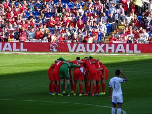 Welsh team talk in their first Euro 2016 group B match against Slovakia