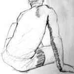 sketch of the back of a man sitting