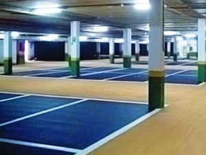pavimento parking con pintura señalización impapol resin