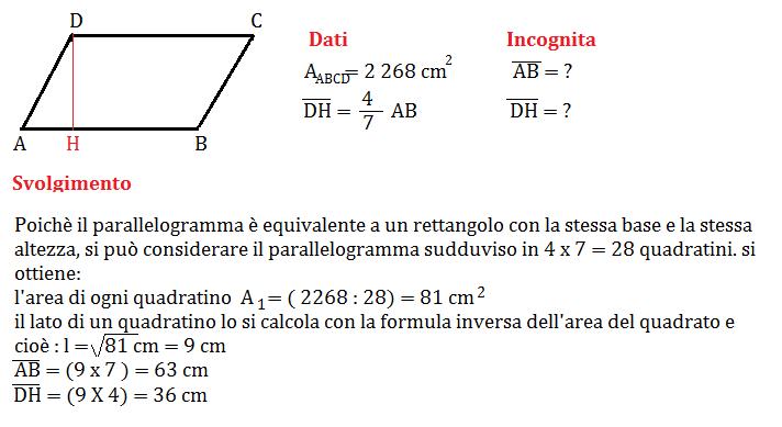 Problemi Sullarea Del Parallelogramma Geometria Seconda Media