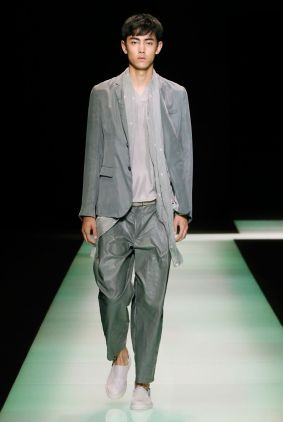 men's armani grey suit from runway