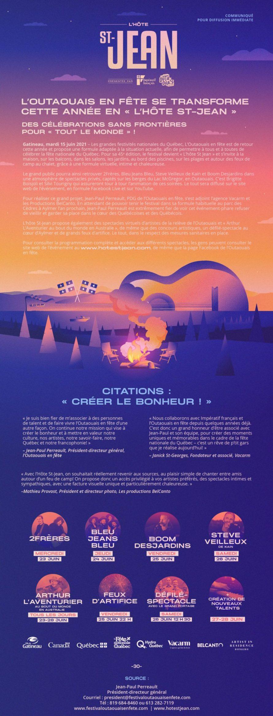 Affiche Hôte St-Jean - Outaouais en fête 2021