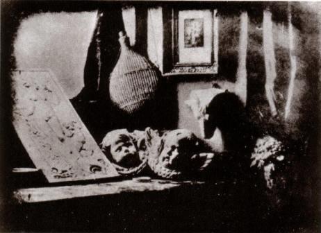 """""""L'atelier de l'artiste"""", photographie de 1837 par Mandé"""