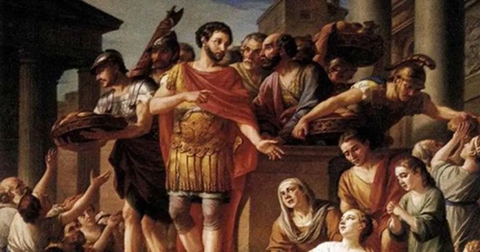 Pintura, Marco Aurelio distribuyendo pan entre los pobres.