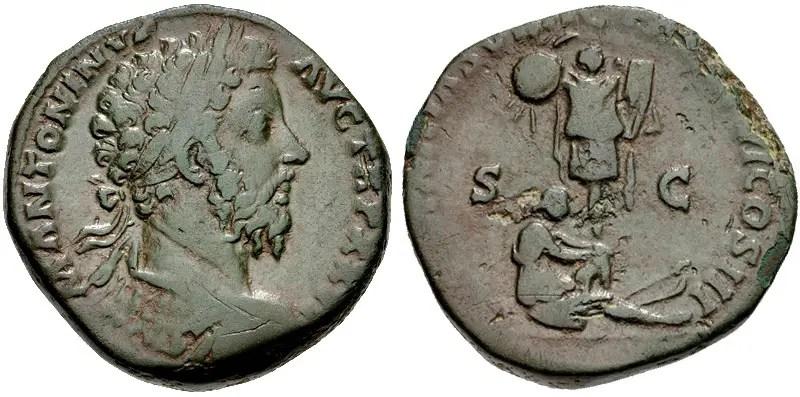 Moneda de Marco Aurelio.