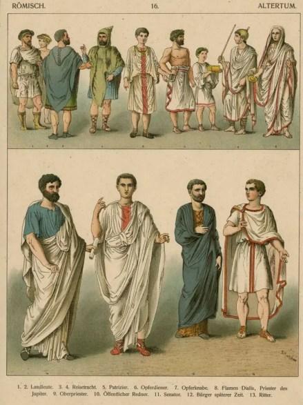 Distintas prendas romas, dos hileras de personas vistiendo distintas prendas.