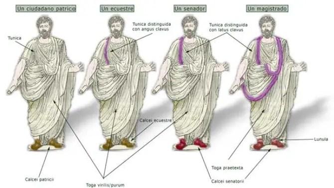 Diferencias notables entre la nobleza dada su vestimenta.  Cuatro hombres romanos vistiendo una toga.