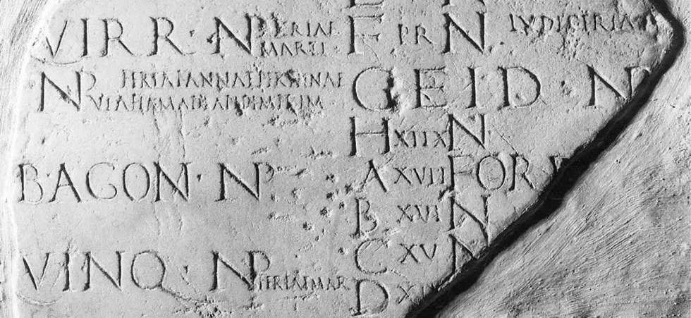 Fragmento de un calendario romano.