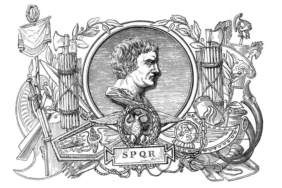 Ilustración reflejando a Pompeyo Magno con su cognomen ex-virtue.