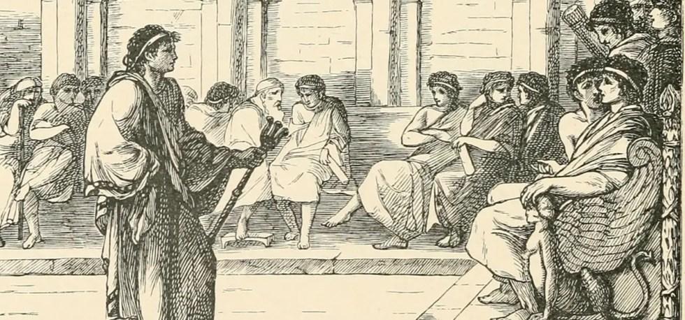 Dos cónsules romanos escuchando a un senador.
