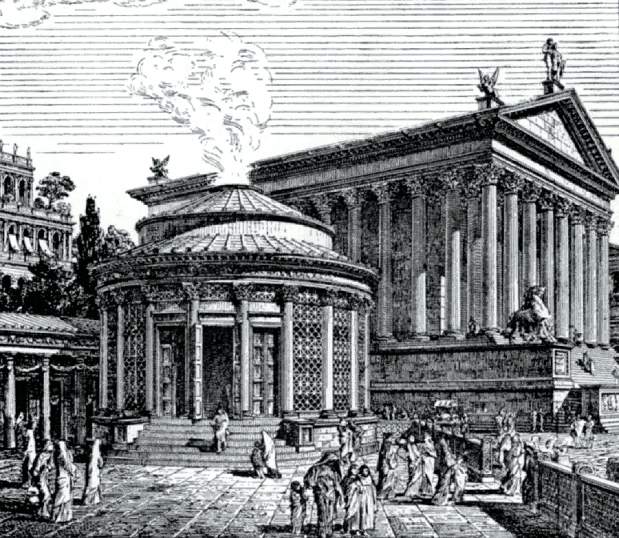 Ilustración de la ciudad de roma, se detalla el templo de las vestales.