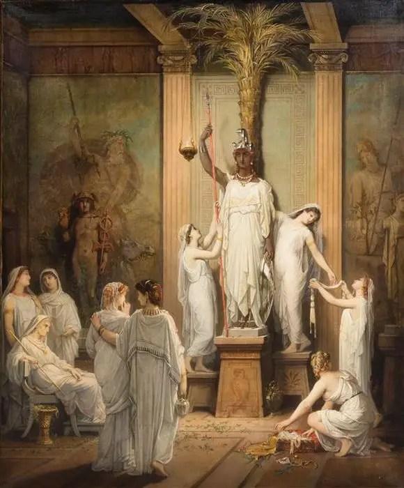Pintura de las vírgenes vestales cuidando la estatua de Vesta.