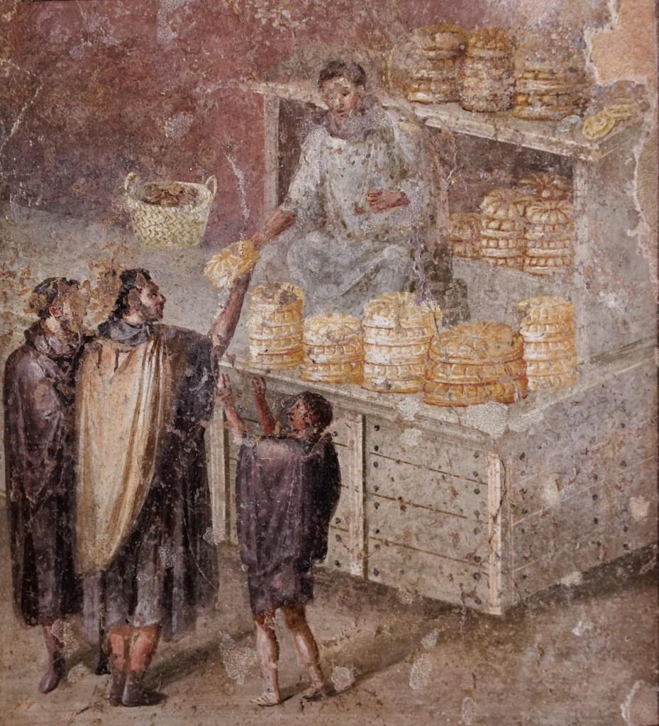 Fresco retratando plebeyos comprando pan.