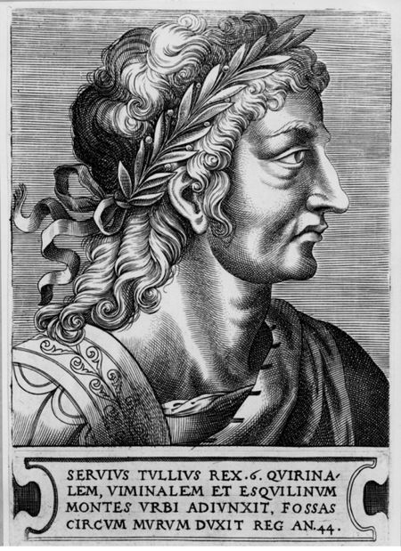 Grabado del rey romano Servio Tulio.
