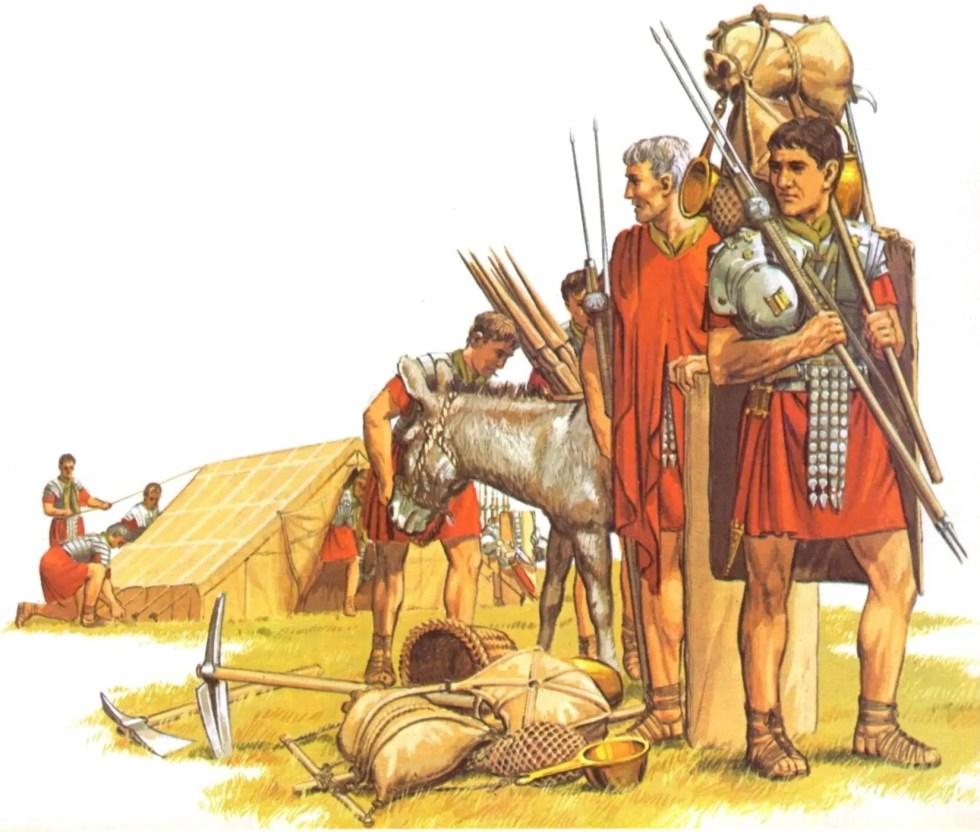 Ilustración mostrando a los hombres de un contubernio romano.
