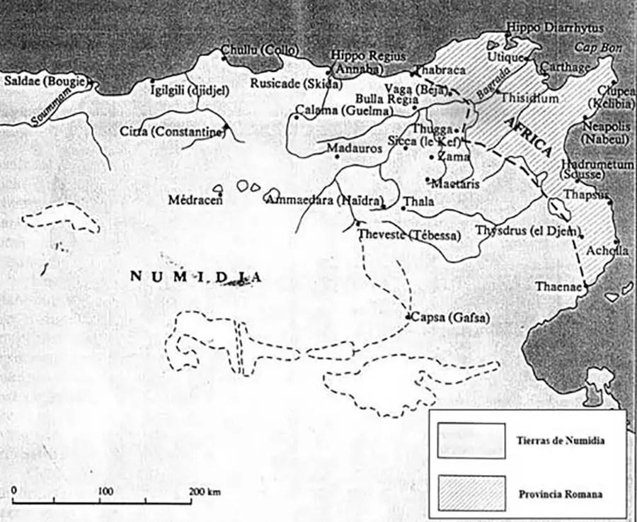 Mapa de los territorios durante la guerra de Jugarta.