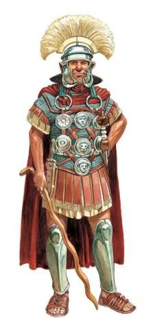 Ilustración de un centurión romano con su vitis.
