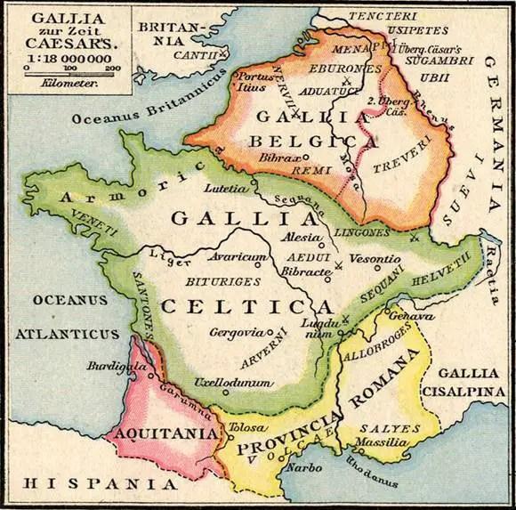 Mapa de la división de las Galias.