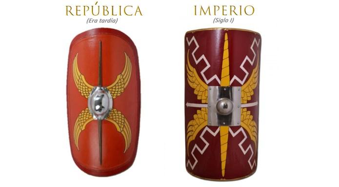 Comparación escudos romanos.