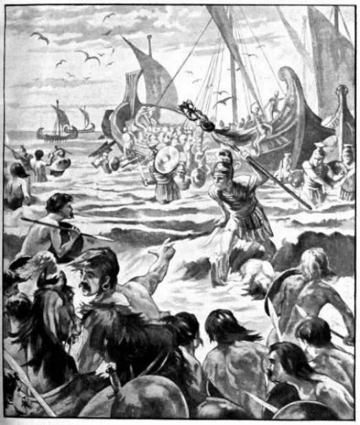 Ilustración de un desembarco romano.