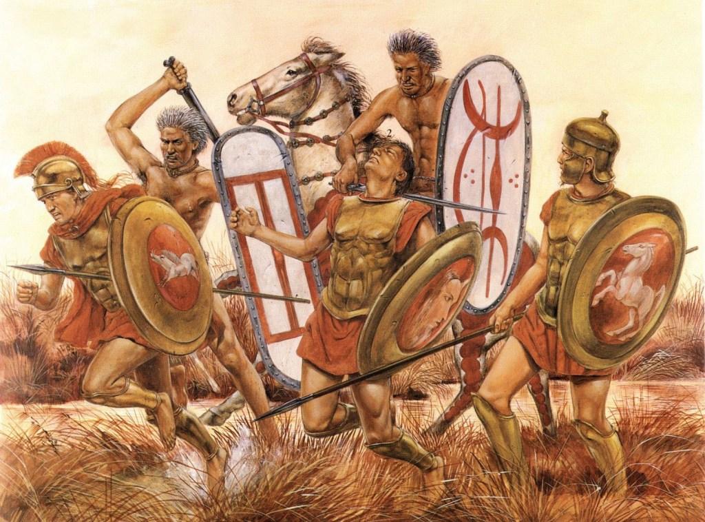Ilustración de una batalla romana contra los celtas.