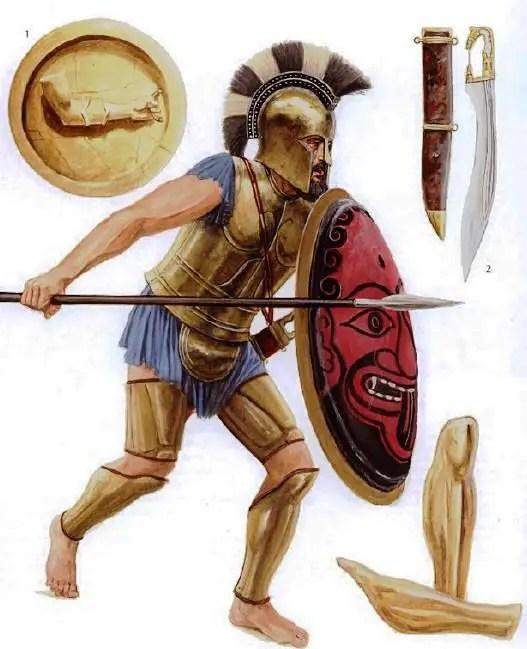 Ilustración de un hoplita romano.