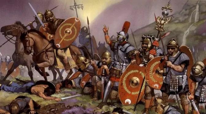 Ilustración de las tropas de César y su caballería germánica.