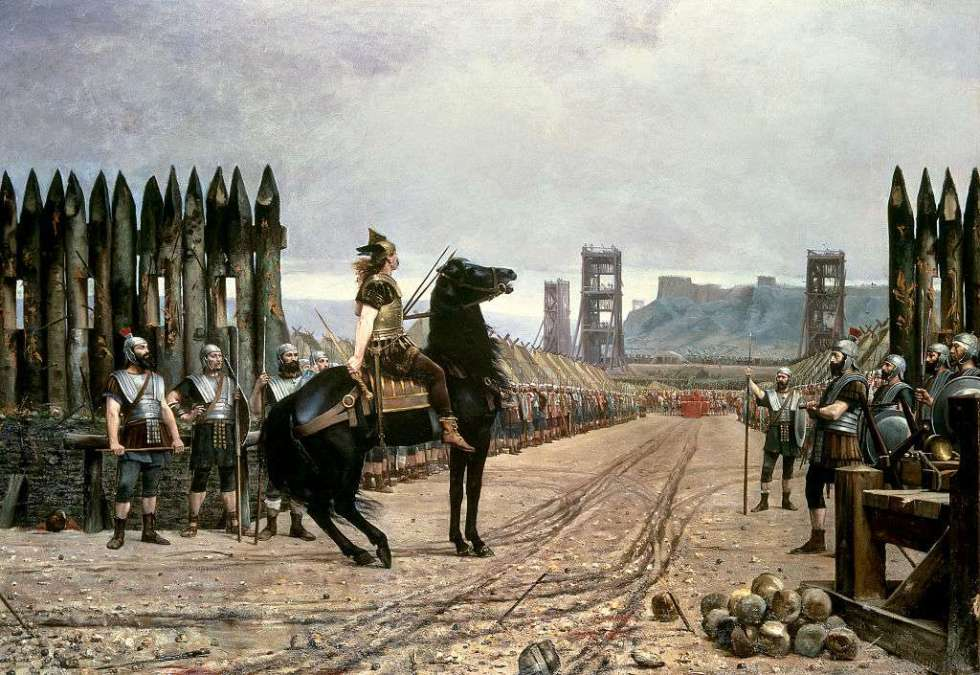 Pintura de Vercingétorix en su caballo a punto de rendirse ante César.