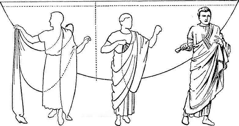 Esquema de como vestir la toga romana.