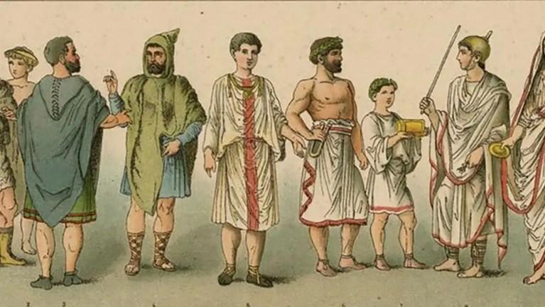 Ejemplos de vestimenta romana.