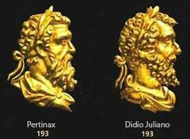 Rostros de los emperadores romanos Pertinax y Didio Juliano.