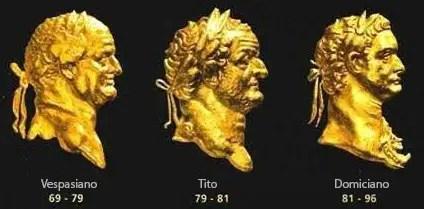 Los rostros de los emperadores romanos de la dinastía Flavia.