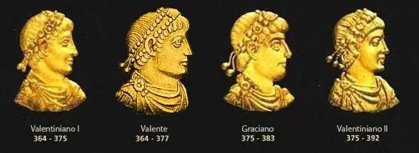 Rostros de los emperadores romanos de la dinastía Valentiniana.