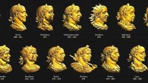 Rostros de los emperadores romanos reflejados en las caras de las monedas.