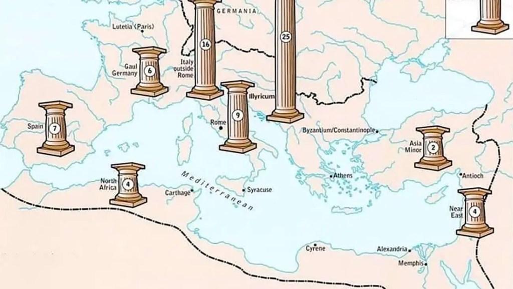 Cabezal mapas temáticos, económicos y culturales de Roma.