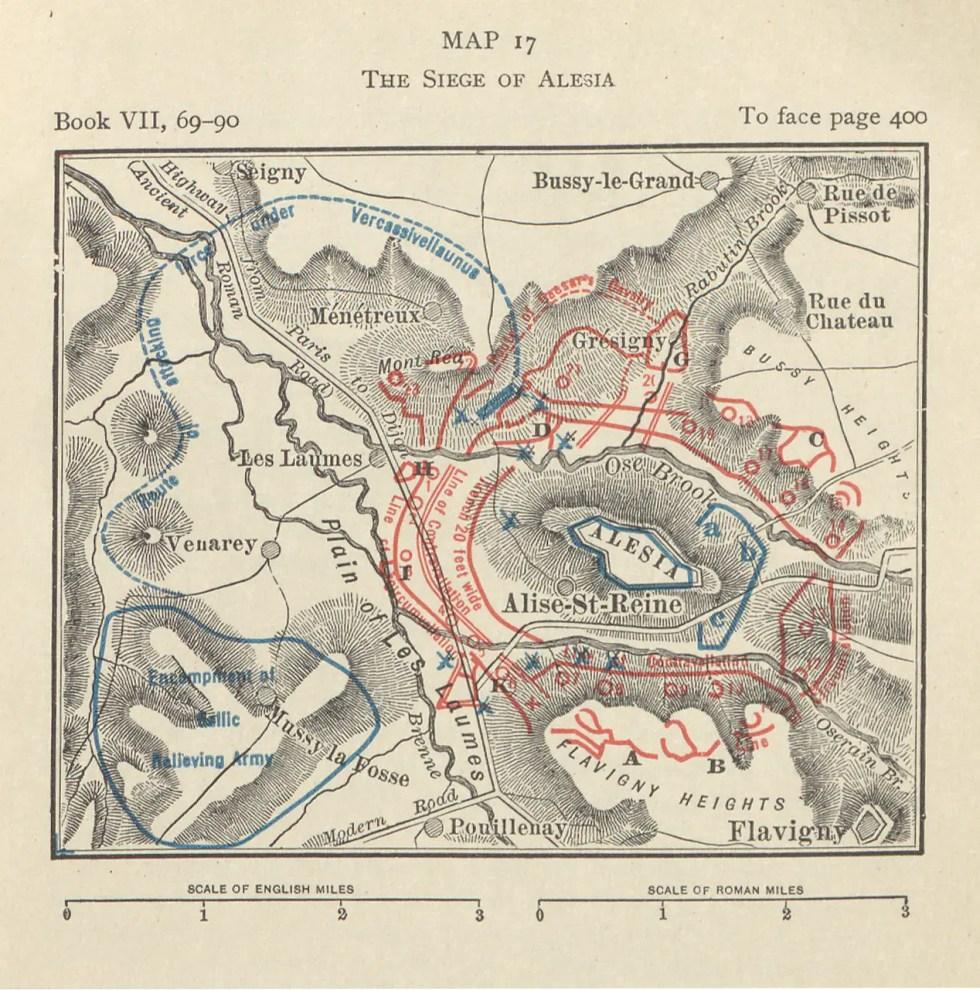 Mapa del asedio de Alesia.