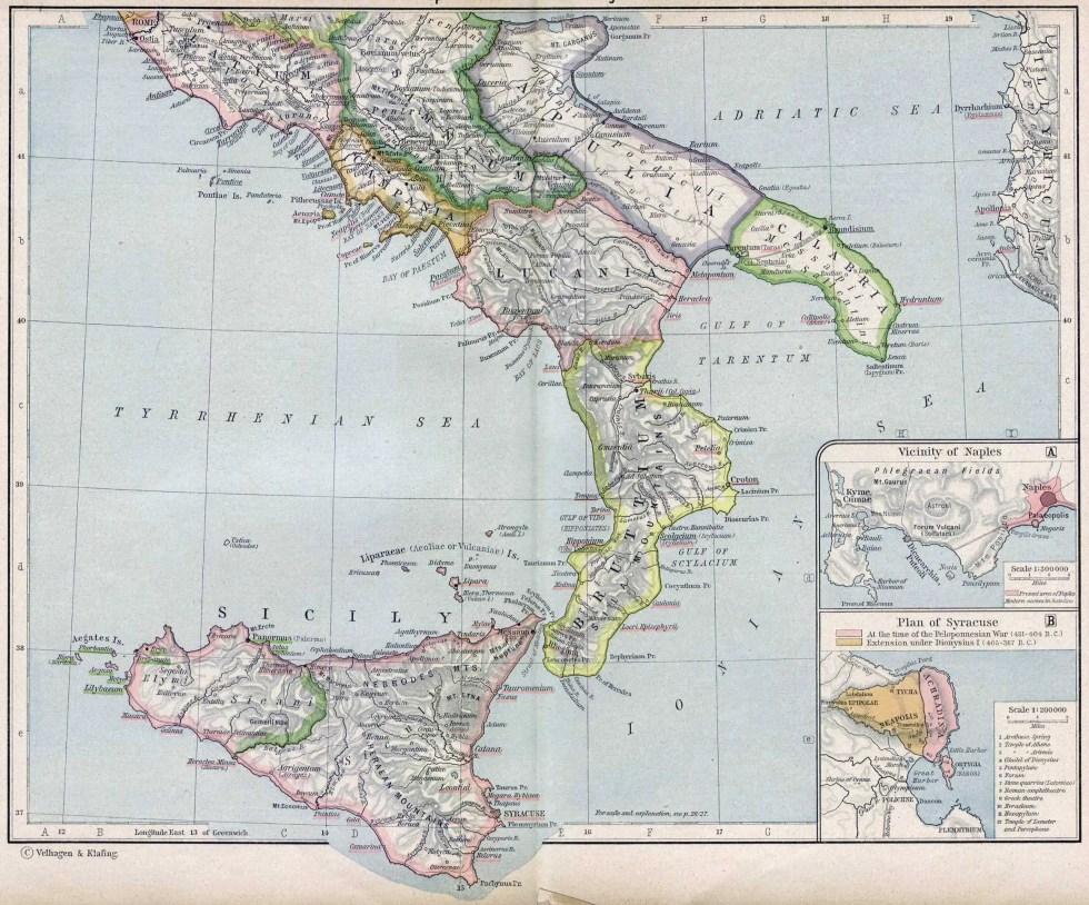 Mapa de Italia antigua del sur
