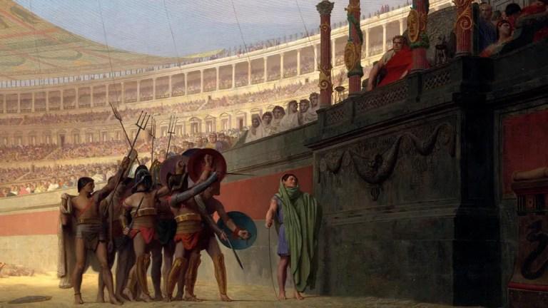 Pintura Ave Imperator, morituri te salutant. Los gladiadores dejaban su sangre en la arena.