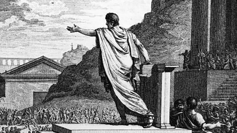 Orador romano dando un discurso.