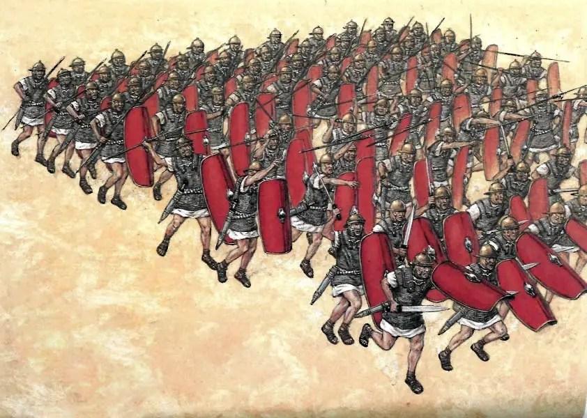 Ilustración de una centuria de 80 hombres de las legiones producto de las reformas de Mario a la carga.